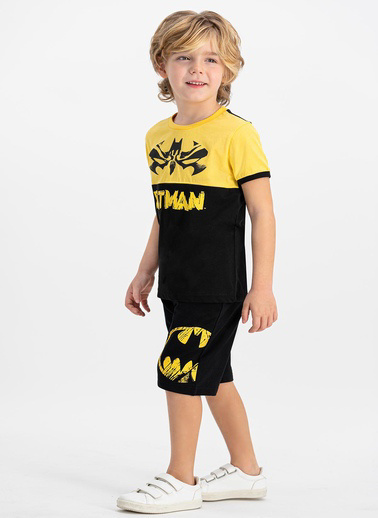 Batman Grimelanj Bisiklet Yaka Erkek Çocuk Bermuda Takım Siyah